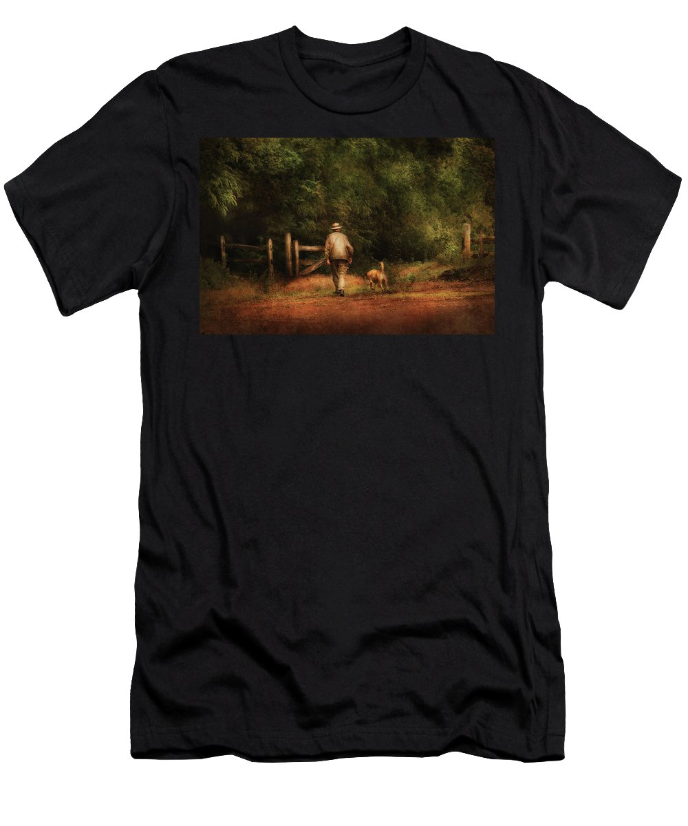 Savad Men's T-Shirt (Athletic Fit) featuring the photograph Animal - Dog - A Man And His Best Friend by Mike Savad