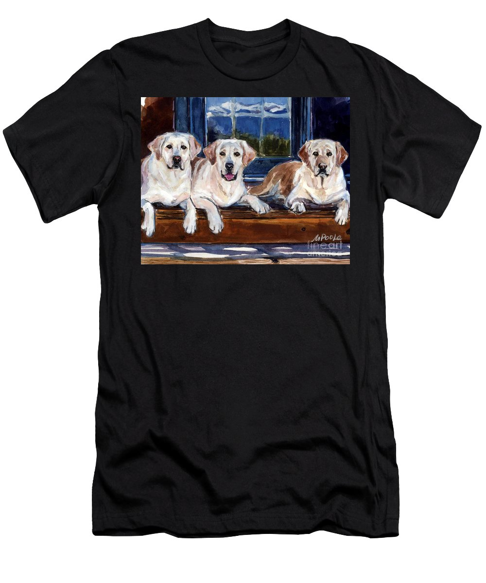 Yellow Labs Men's T-Shirt (Athletic Fit) featuring the painting Annie And Her Sisters by Molly Poole