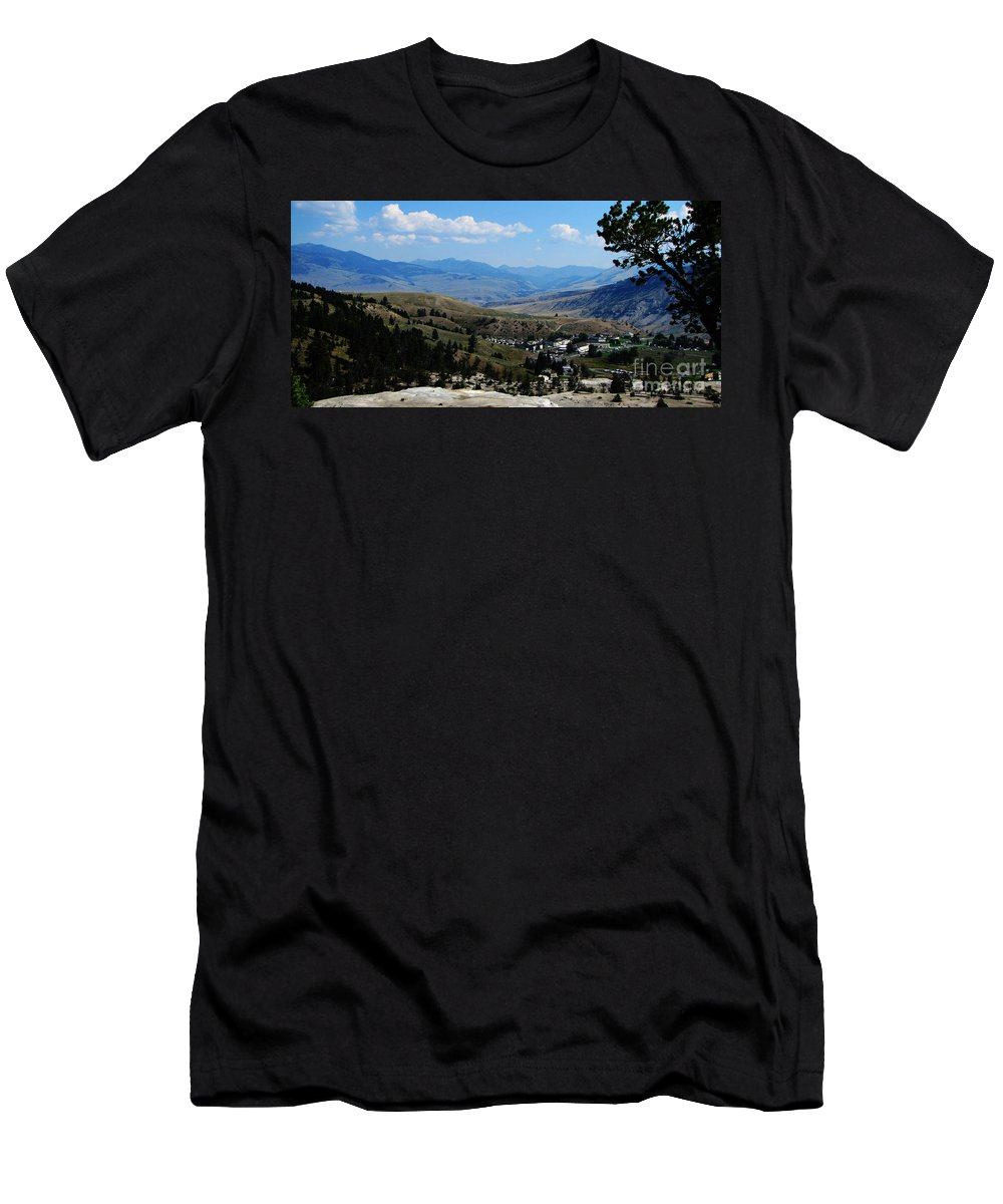 Landscape Men's T-Shirt (Athletic Fit) featuring the photograph Another View From Mammoth In Yellowstone by Ron Tackett