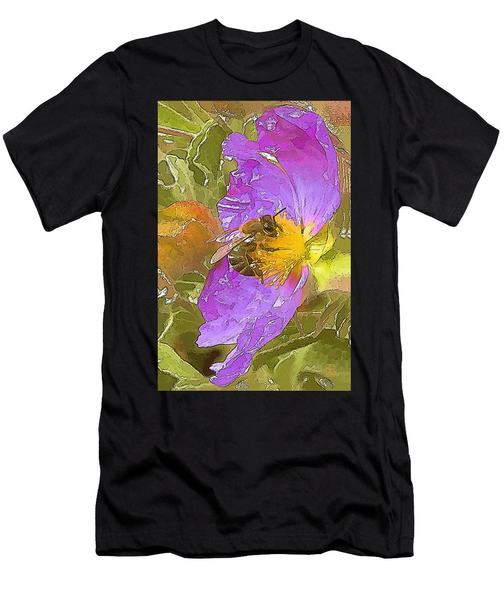 Purple Men's T-Shirt (Athletic Fit) featuring the painting Answer The Dance by Zygmund Zee