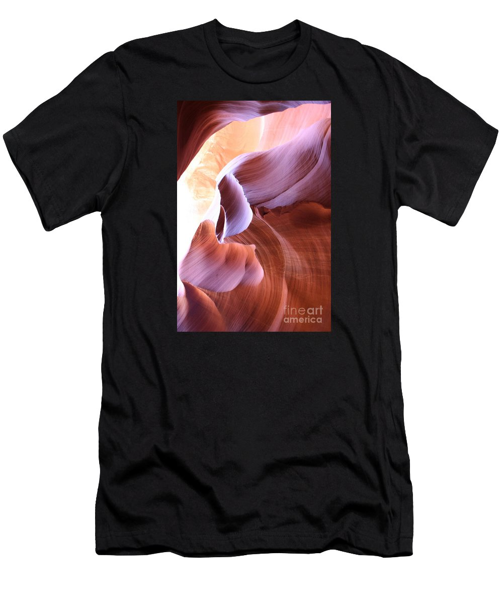 Antelope Canyon Men's T-Shirt (Athletic Fit) featuring the photograph Antelope Canyon Colorful Waves by Christiane Schulze Art And Photography
