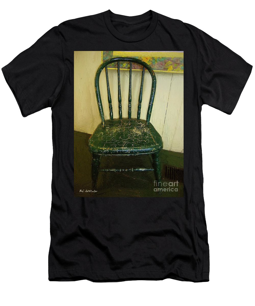 Americana Men's T-Shirt (Athletic Fit) featuring the painting Antique Child's Chair With Quilt by RC DeWinter