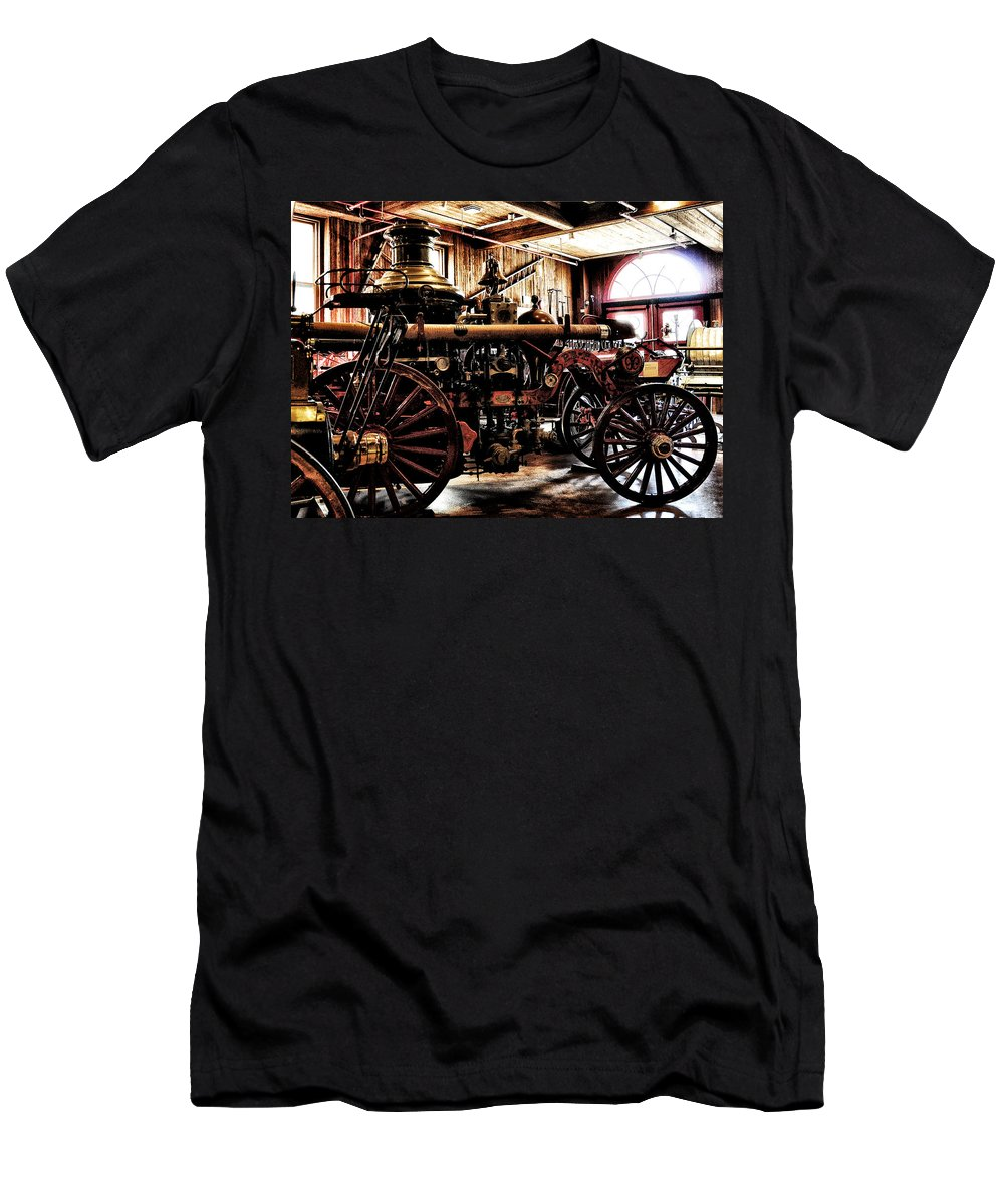 Antique Fire Engine Men's T-Shirt (Athletic Fit) featuring the photograph Antique Fire Engine by Bill Cannon