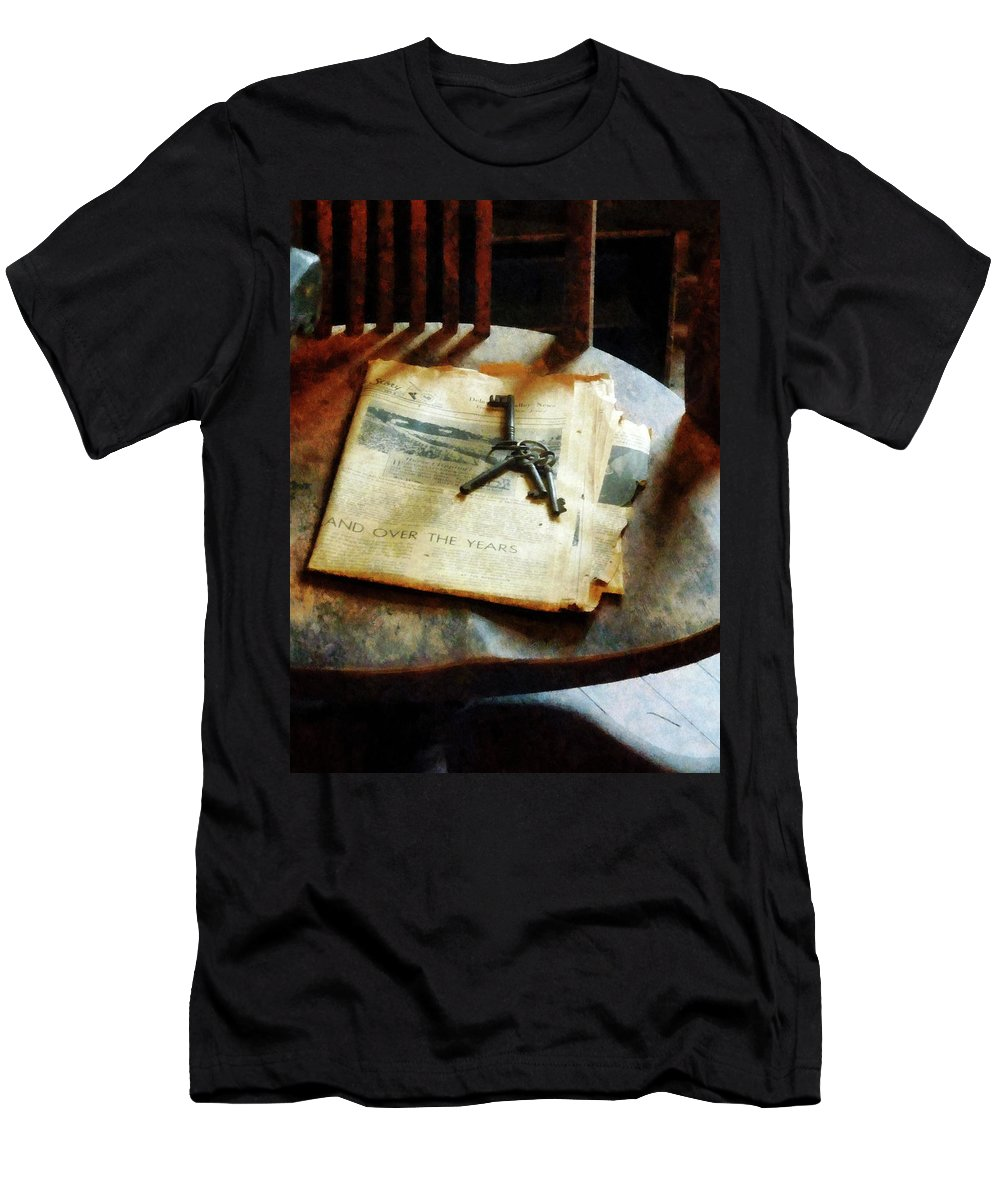 Keys Men's T-Shirt (Athletic Fit) featuring the photograph Antique Keys On Newspaper by Susan Savad