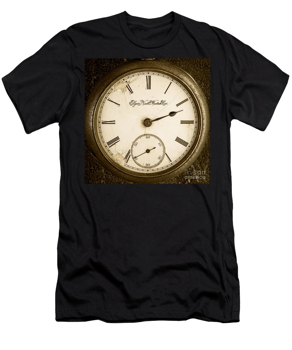 Watch Men's T-Shirt (Athletic Fit) featuring the photograph Antique Pocket Watch by Edward Fielding