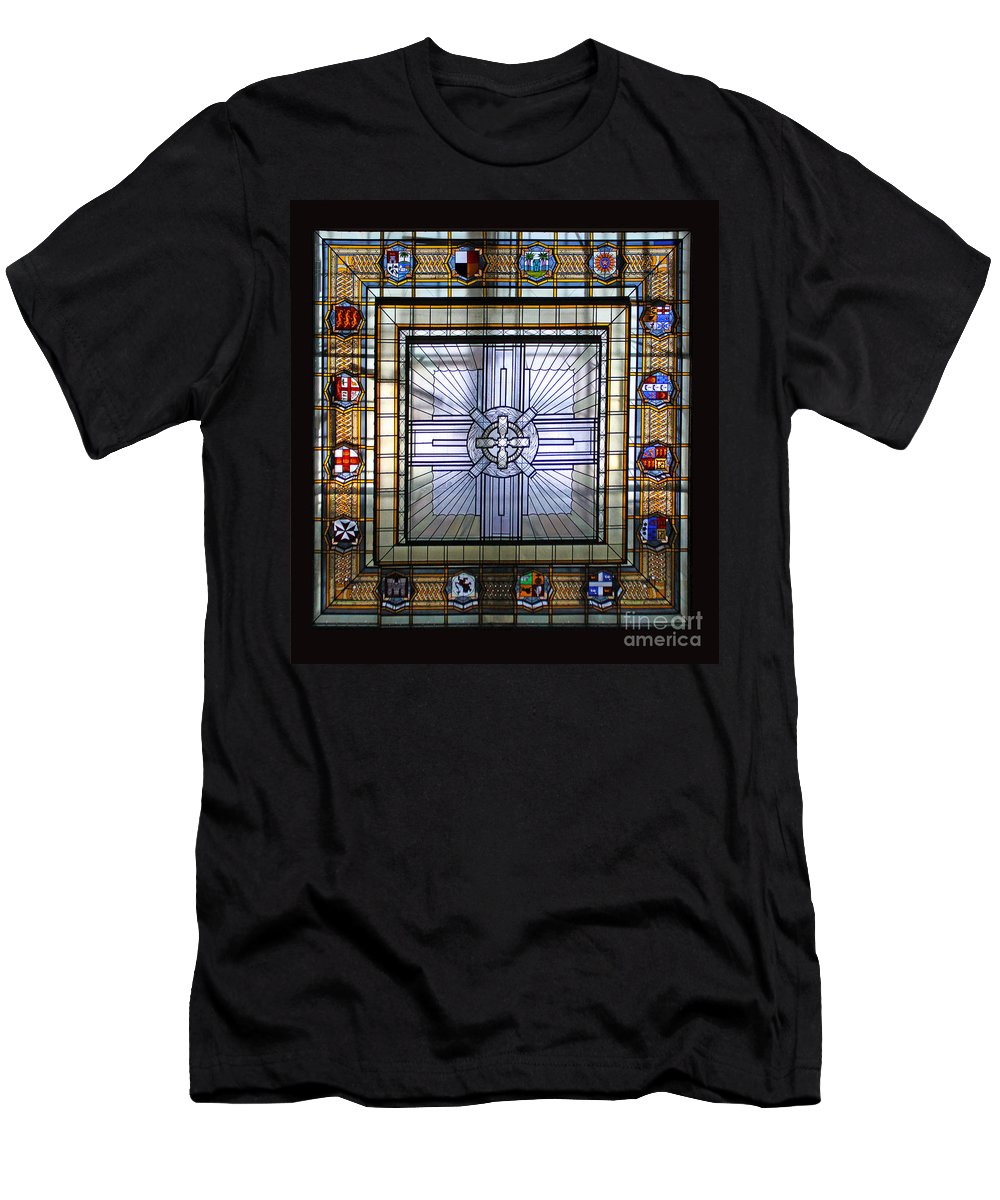Anzac Day Men's T-Shirt (Athletic Fit) featuring the photograph Anzac Day 2014 Auckland War Memorial Museum Stained Glass Roof by Gee Lyon