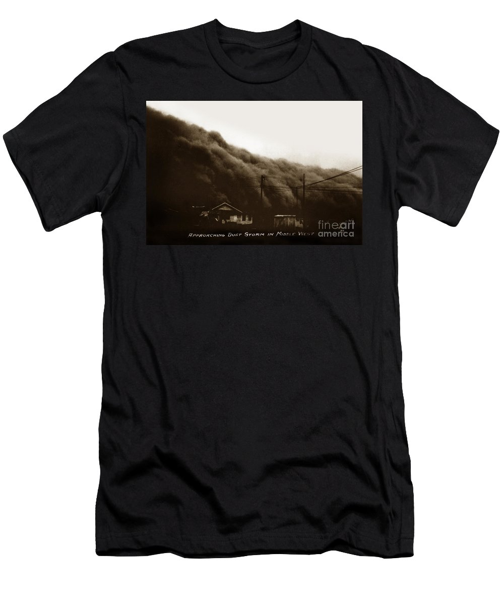 Approaching Men's T-Shirt (Athletic Fit) featuring the photograph Approaching Dust Storm In Middle West By Frank D. Conard Circa 1938 by California Views Archives Mr Pat Hathaway Archives