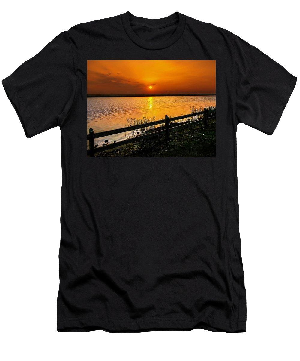 Sunset Men's T-Shirt (Athletic Fit) featuring the photograph April Sunset by Mechala Matthews