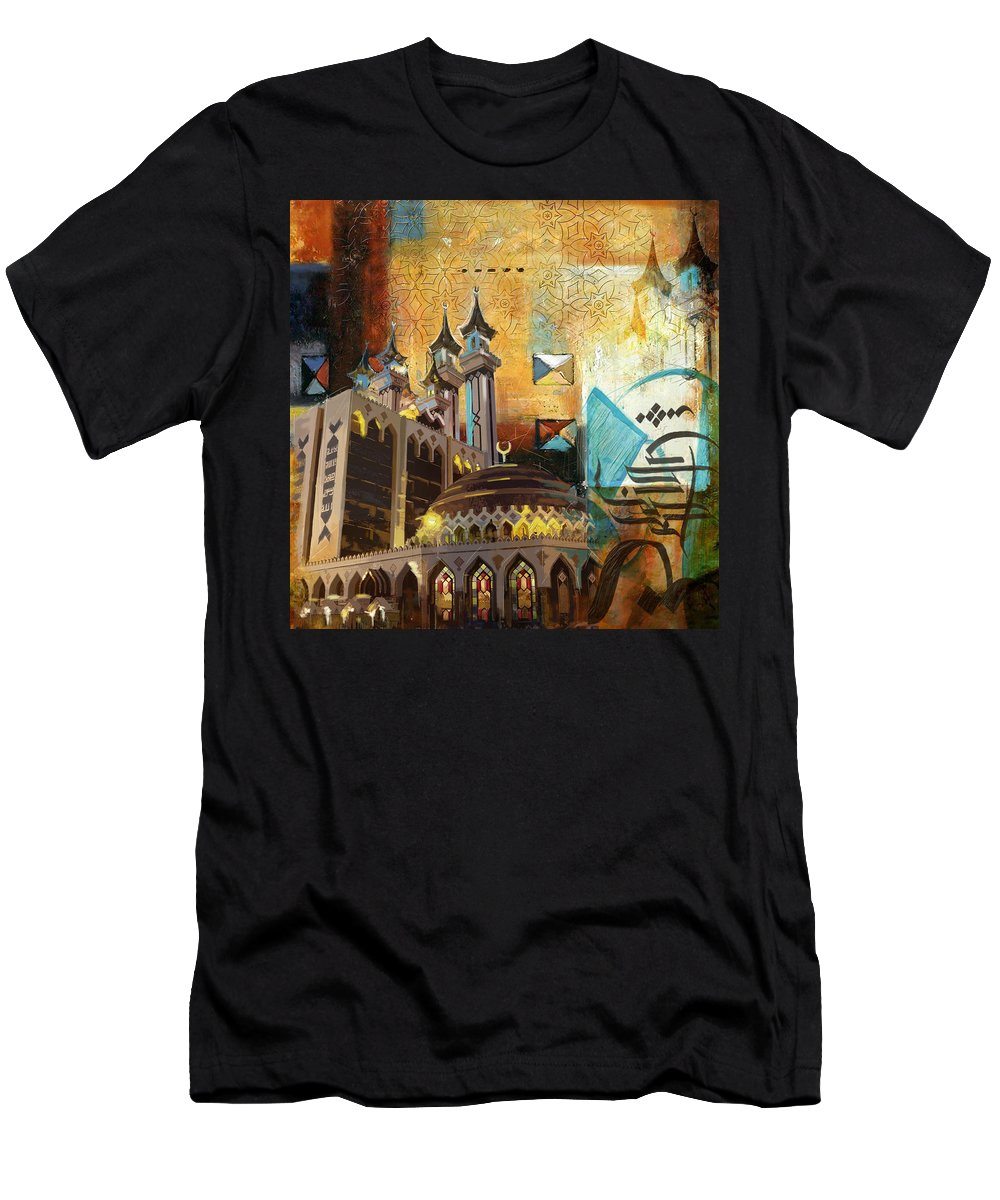 Ar Rehman Islamic Center Men's T-Shirt (Athletic Fit) featuring the painting Ar Rehman Islamic Center by Corporate Art Task Force