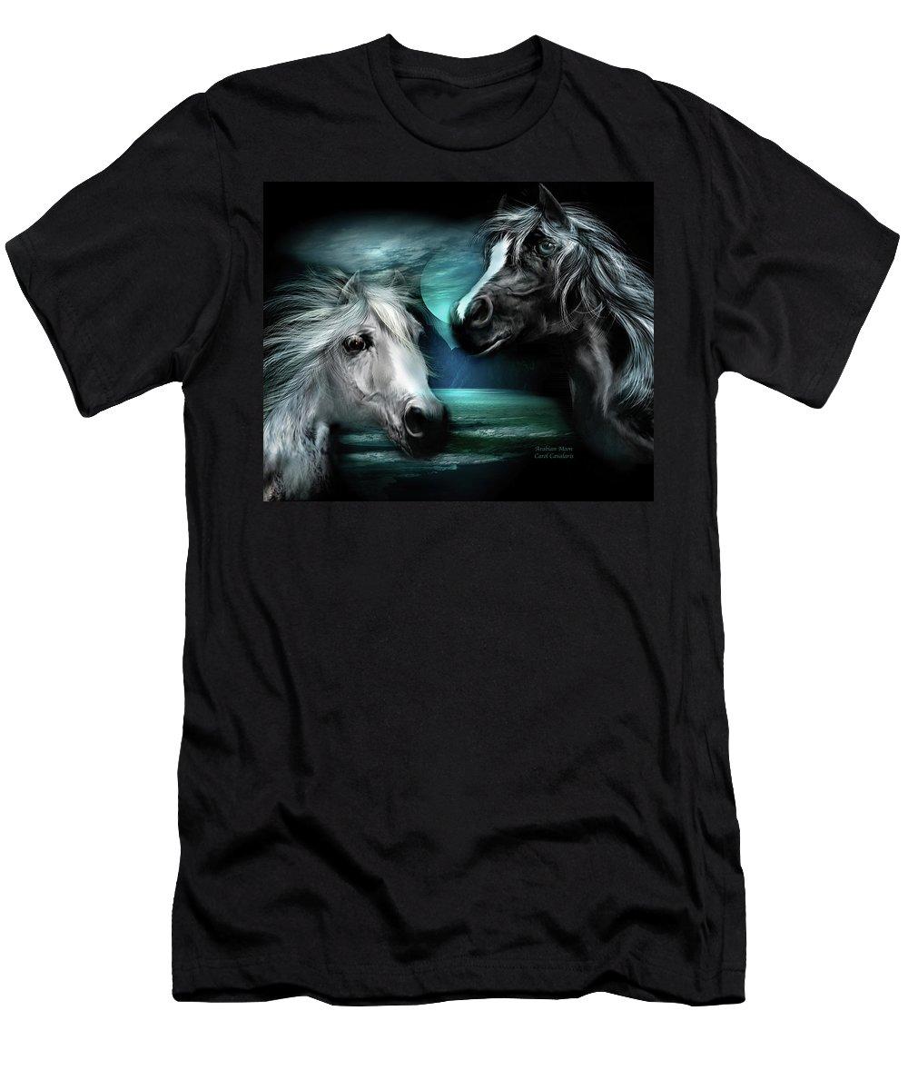 Horse Men's T-Shirt (Athletic Fit) featuring the mixed media Arabian Moon by Carol Cavalaris
