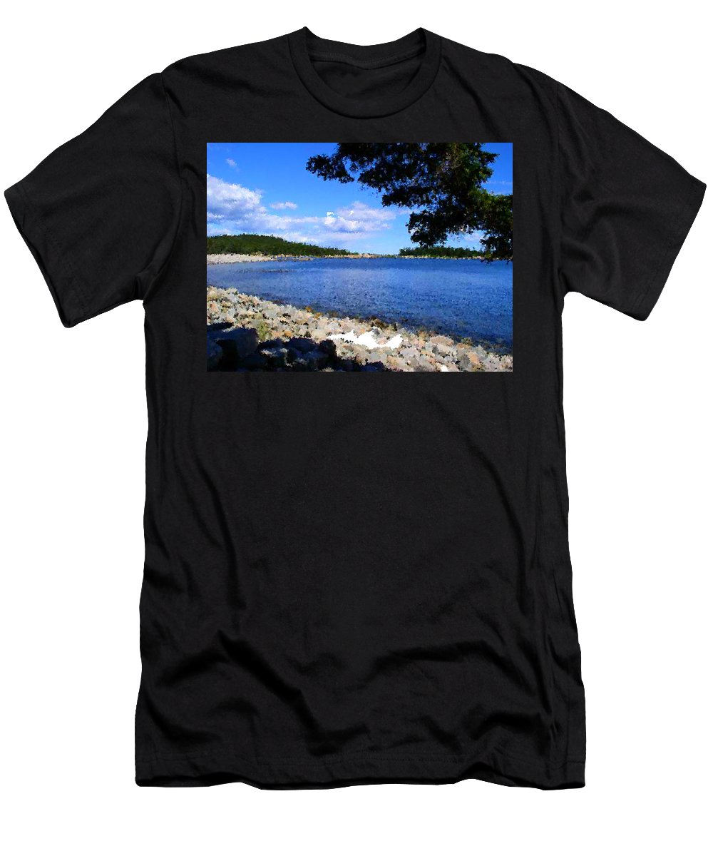 Water Men's T-Shirt (Athletic Fit) featuring the painting Arcadia Maine A La Neo-pointillism by Bruce Nutting