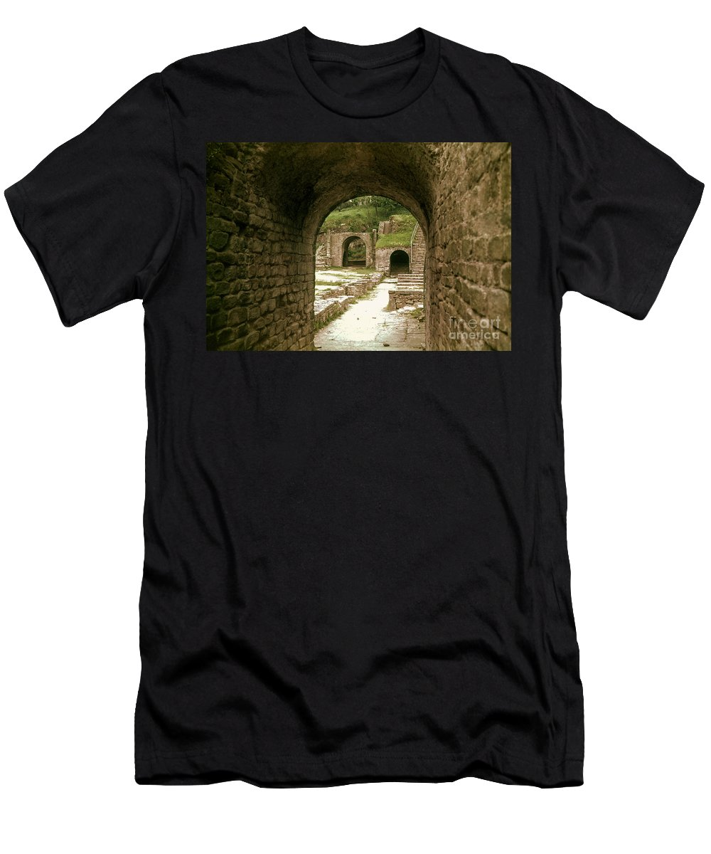 Fiesole Theatre Ruins Ruin Structure Structures Architecture Stairs Architecture Stone Arch Stones Arches Italy Men's T-Shirt (Athletic Fit) featuring the photograph Arched Entrance To Fiesole Theatre by Bob Phillips
