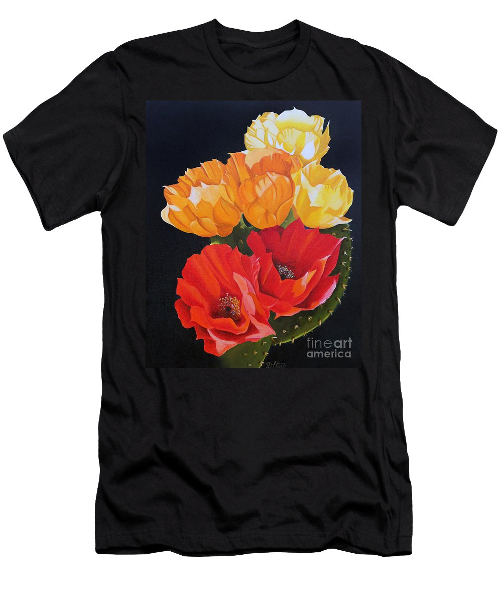 Still Life Men's T-Shirt (Athletic Fit) featuring the painting Arizona Blossoms - Prickly Pear by Debbie Hart