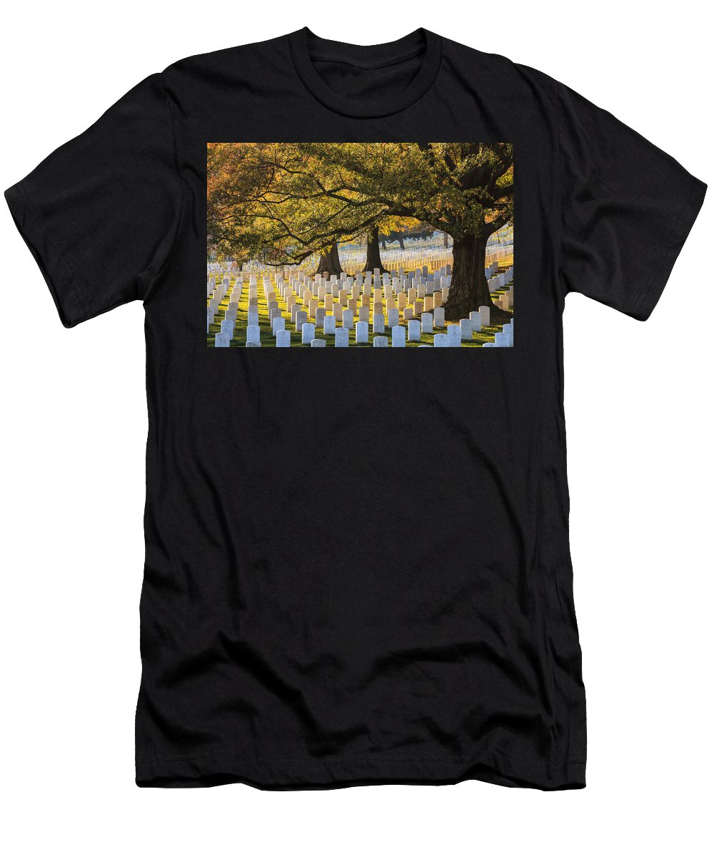 Serene Men's T-Shirt (Athletic Fit) featuring the photograph Arlington National Cemetery Washington Dc by Carol VanDyke