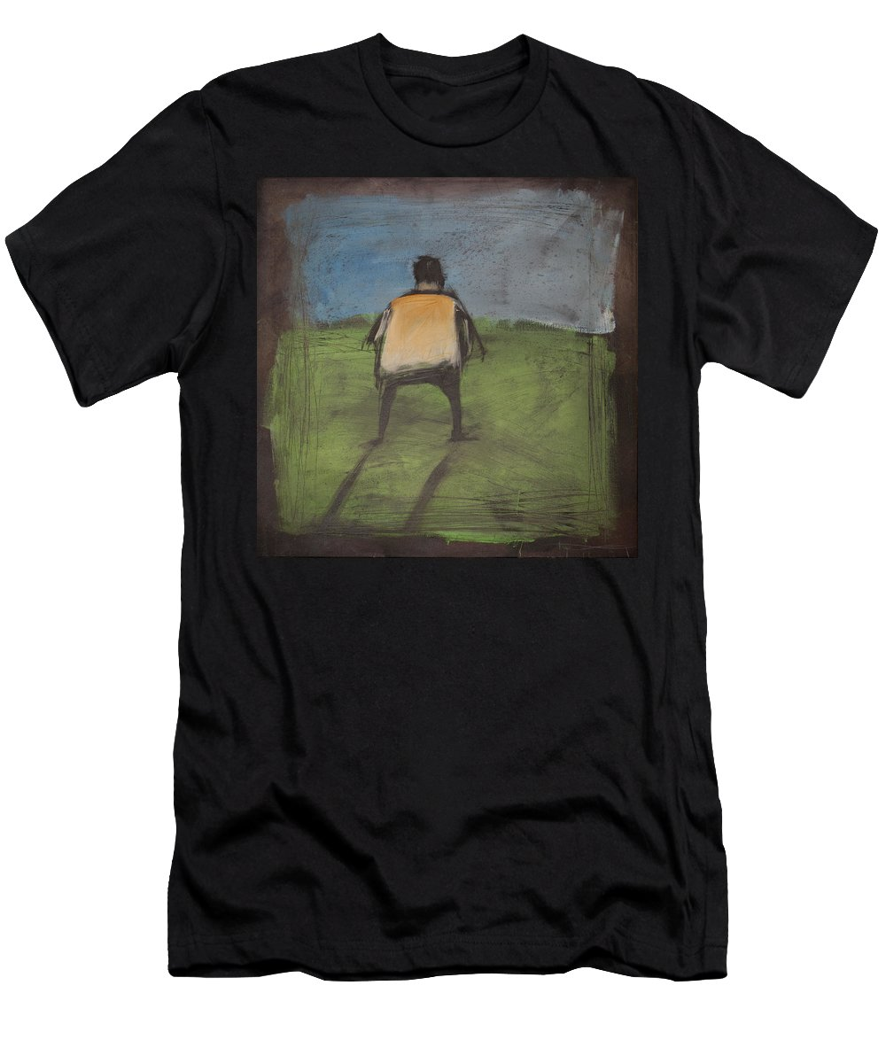 Rothko Men's T-Shirt (Athletic Fit) featuring the painting art critic relieves himself on Rothko's field by Tim Nyberg