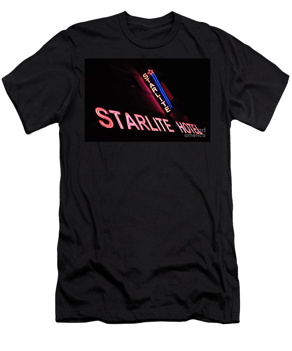 Neon Men's T-Shirt (Athletic Fit) featuring the photograph Starlite Hotel Art Deco District Miami 3 by Bob Christopher