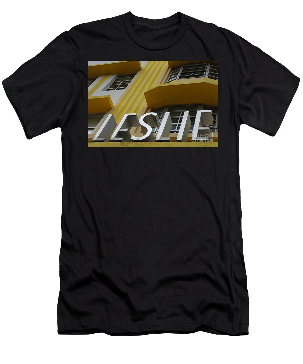 Leslie Hotel Men's T-Shirt (Athletic Fit) featuring the photograph Art Deco Miami 6 by Bob Christopher