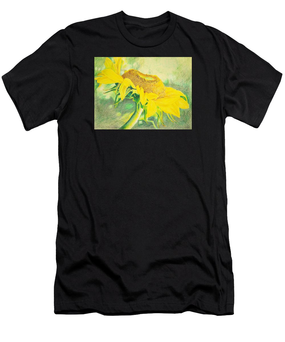 Sunflower Art Print Men's T-Shirt (Athletic Fit) featuring the mixed media Sunflower Print Art For Sale Colored Pencil Floral by Diane Jorstad