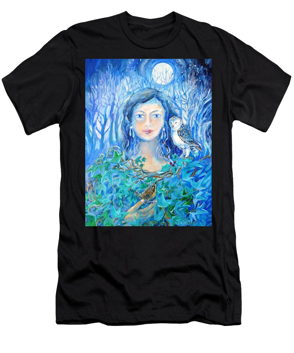 Dreolin Men's T-Shirt (Athletic Fit) featuring the painting Artemis And The Wren- by Trudi Doyle