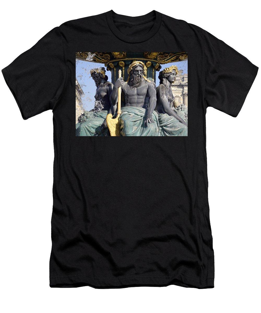 Paris Men's T-Shirt (Athletic Fit) featuring the photograph Artwork On The Public Fountains At Place De La Concorde In Paris France by Richard Rosenshein