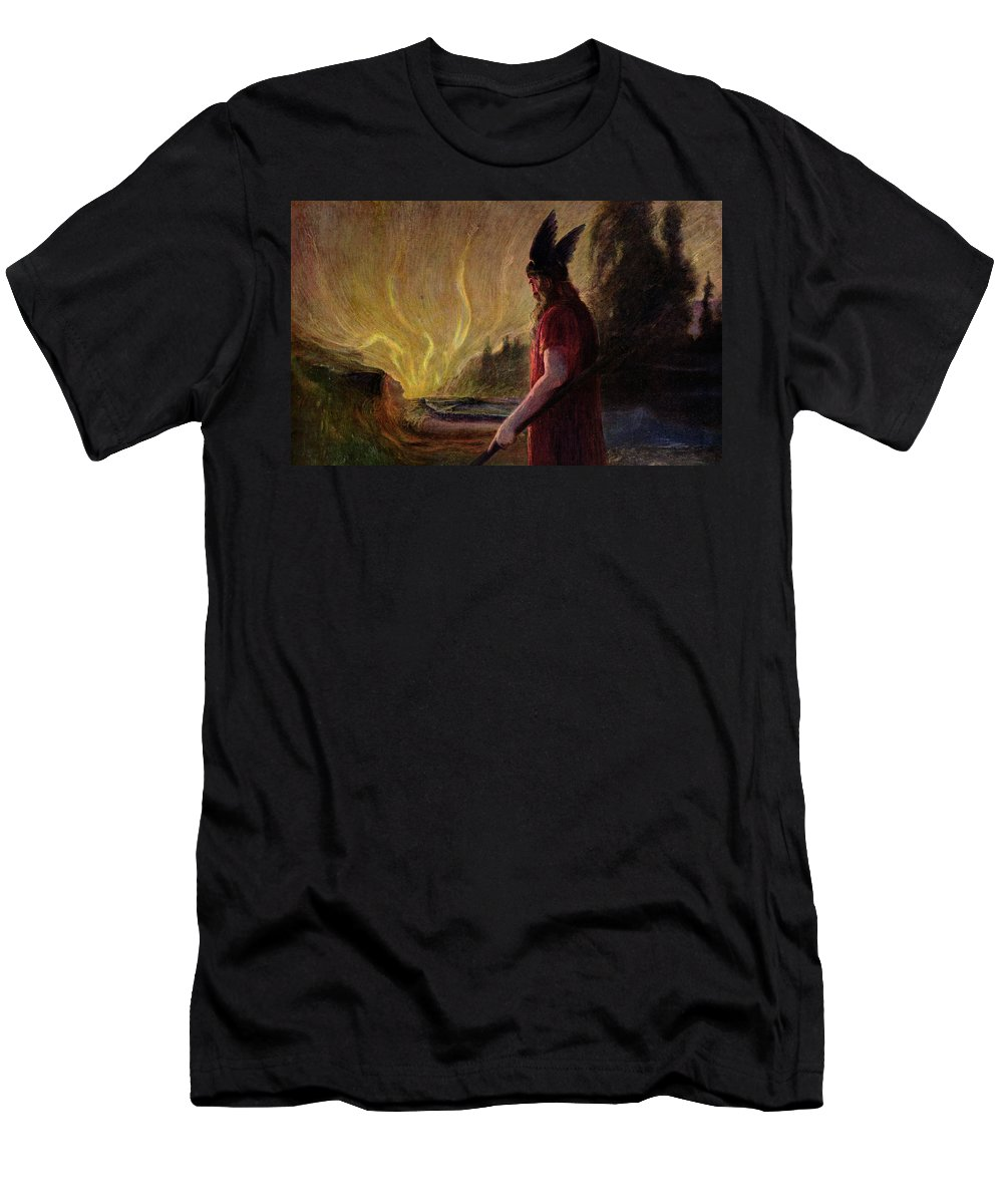 Le Depart De Wotan Men's T-Shirt (Athletic Fit) featuring the painting As The Flames Rise Odin Leaves by Hermann Hendrich