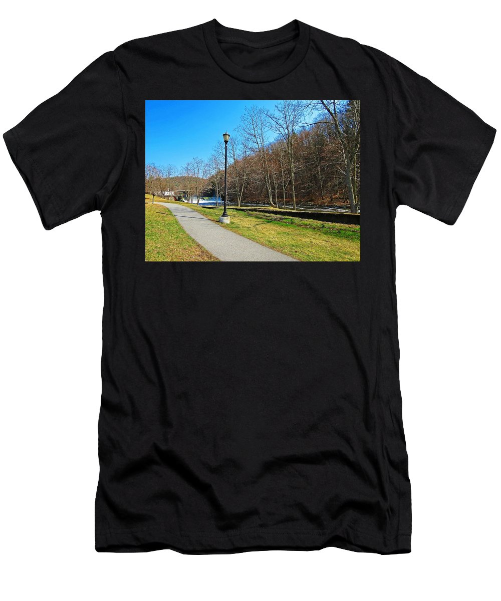 Ashuelot River Men's T-Shirt (Athletic Fit) featuring the photograph Ashuelot River In Hinsdale by MTBobbins Photography