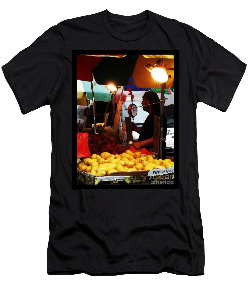 Chinatown Men's T-Shirt (Athletic Fit) featuring the photograph Asian Pears - Chinatown New York by Miriam Danar