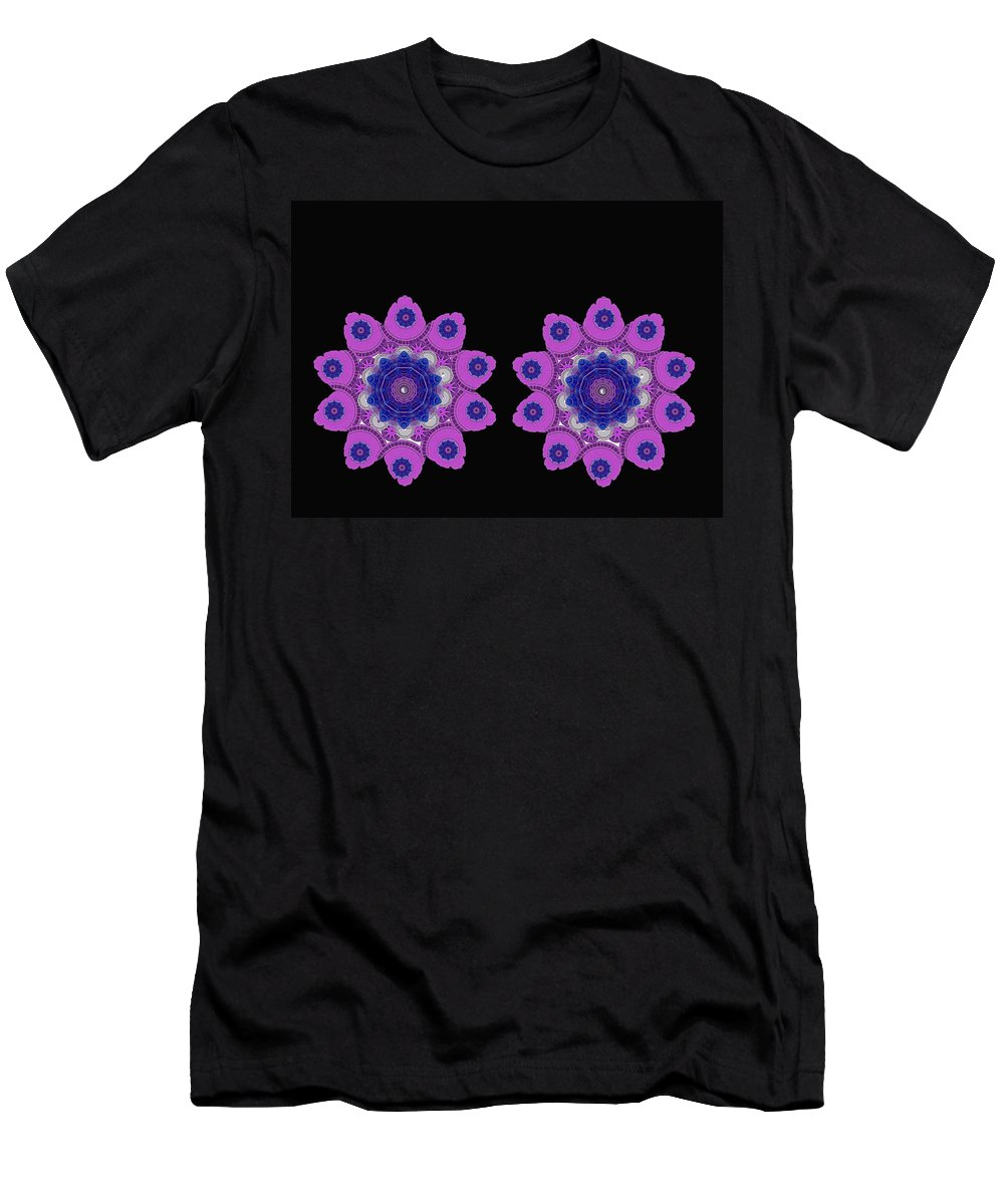 Landscape Men's T-Shirt (Athletic Fit) featuring the mixed media Asian Purple Orchids by Pepita Selles