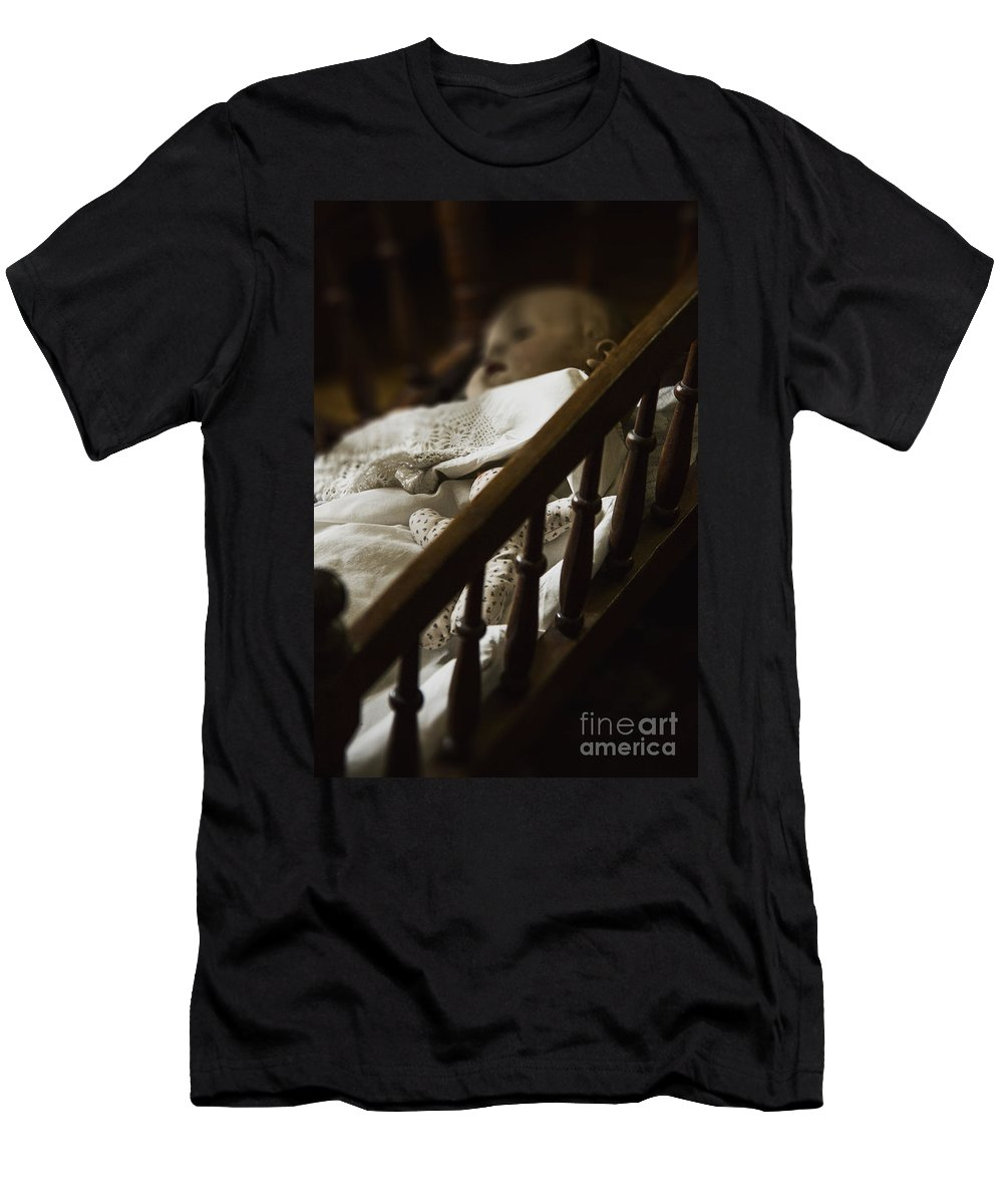 Old; Antique; Childhood; Doll; Eerie; Baby; Sleep; Sleeping; Heirloom; Nostalgia; Old; Retro; Toy; Vintage; Female; Male; Girl; Boy; Porcelain; Blanket; Bed; Crib; Play; Playing; Quilt; Dark; Darkness; Shadow; Shroud Men's T-Shirt (Athletic Fit) featuring the photograph Asleep In The Darkness by Margie Hurwich