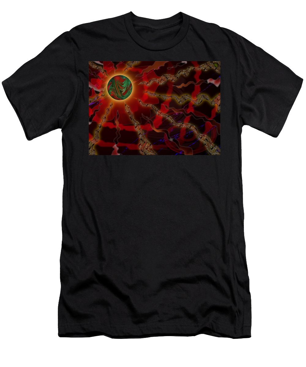 Alien Planet Men's T-Shirt (Athletic Fit) featuring the digital art Astral Rays by Melinda Fawver