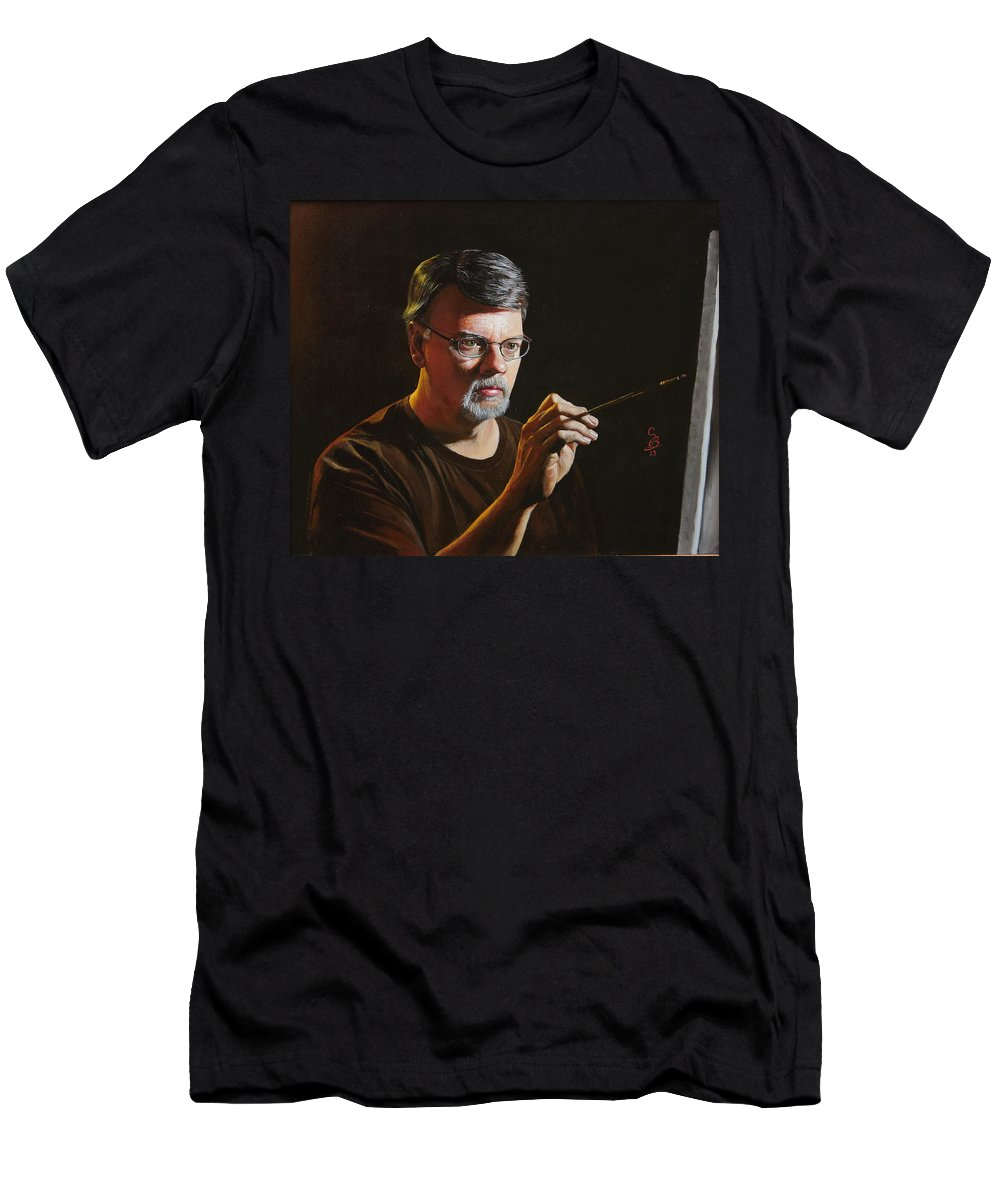 Self Portrait Men's T-Shirt (Athletic Fit) featuring the painting At The Easel Self Portrait by Glenn Beasley