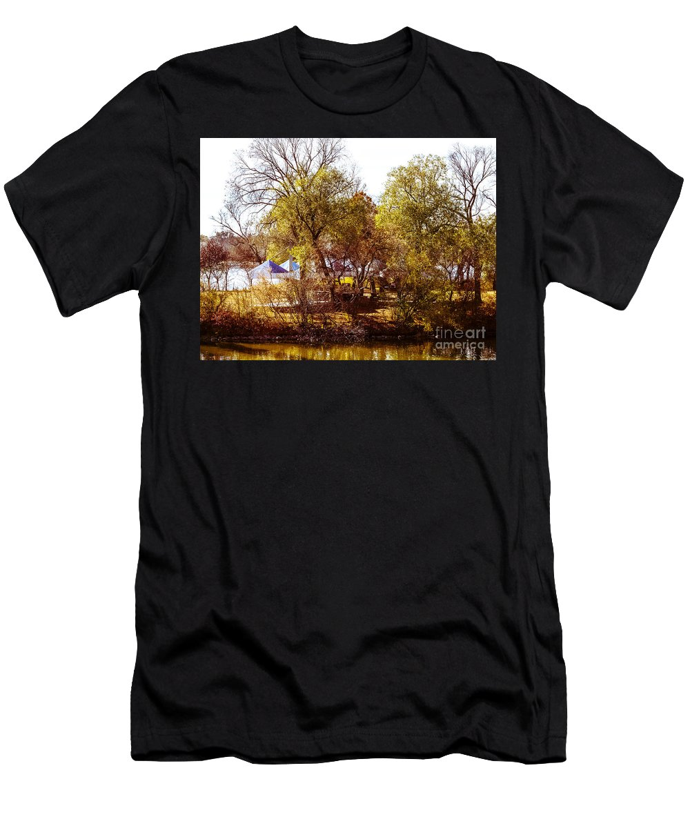 Island Men's T-Shirt (Athletic Fit) featuring the photograph At The Lake-45 by David Fabian