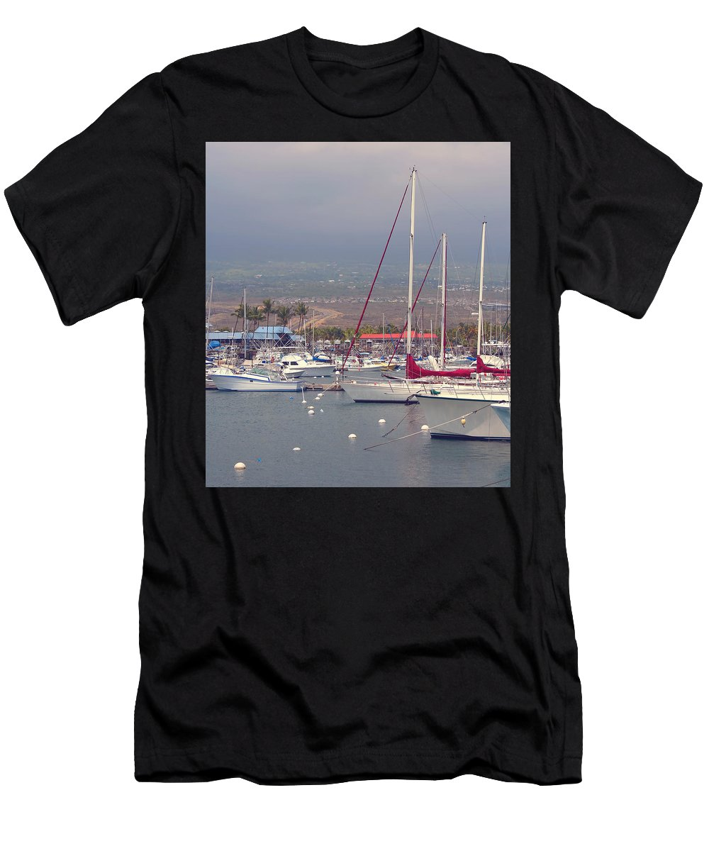 Boats Men's T-Shirt (Athletic Fit) featuring the photograph At The Marina by Kim Hojnacki