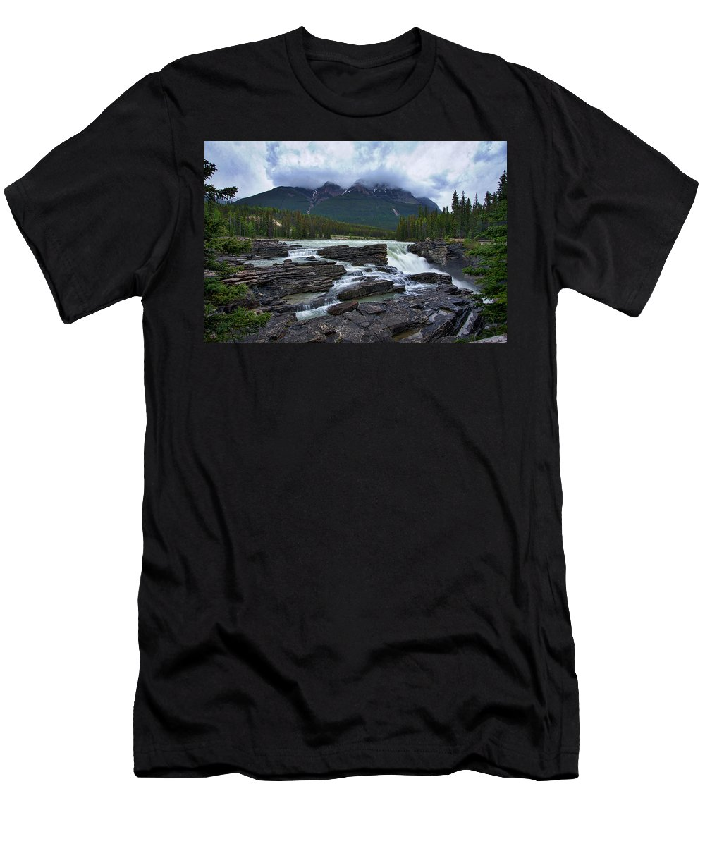 Athabasca Falls Men's T-Shirt (Athletic Fit) featuring the photograph Athabasca Falls #3 by Stuart Litoff