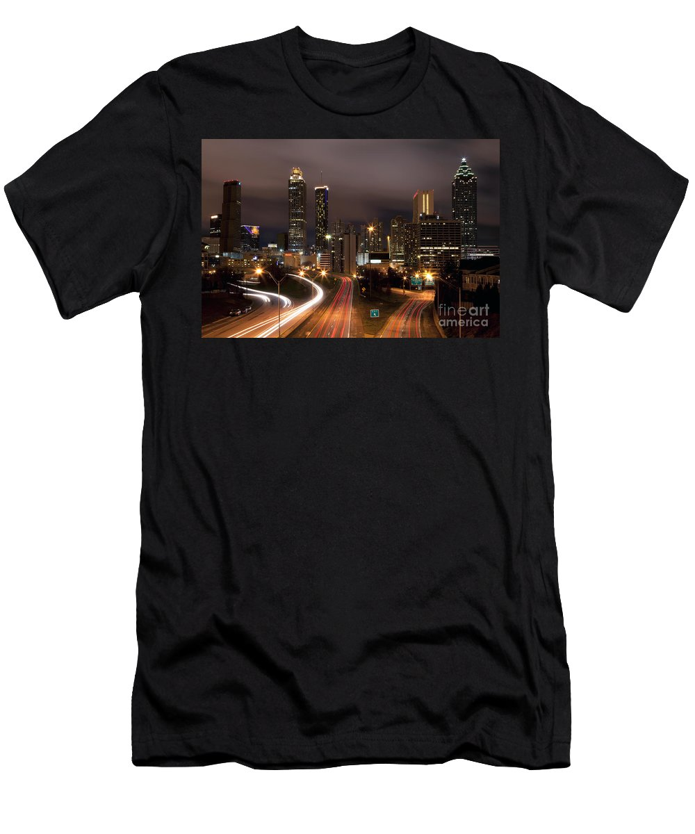 Atlanta Men's T-Shirt (Athletic Fit) featuring the photograph Atlanta Skyline At Dusk by Bill Cobb