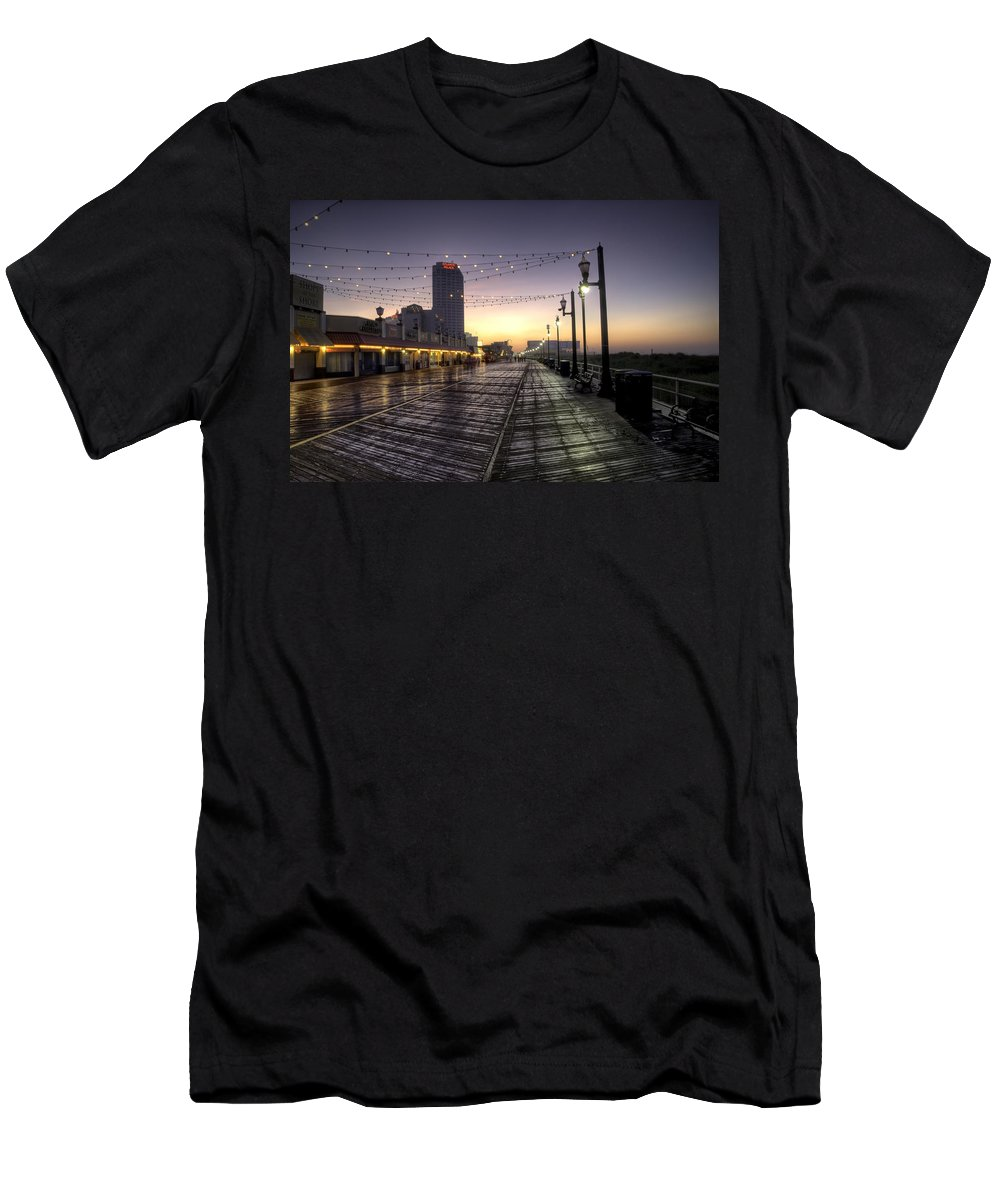 Atlantic Men's T-Shirt (Athletic Fit) featuring the photograph Atlantic City Boardwalk In The Morning by Bill Cannon