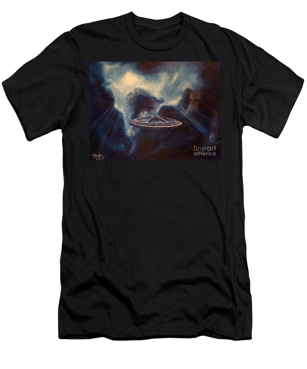 Si-fi Men's T-Shirt (Athletic Fit) featuring the painting Atmospheric Arrival by Murphy Elliott