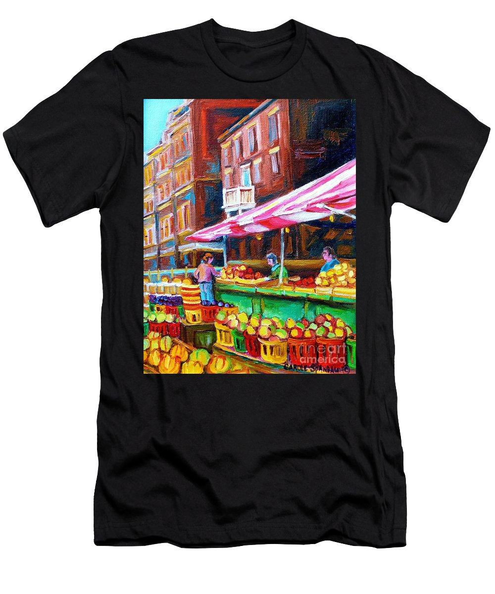 Atwater Market Men's T-Shirt (Athletic Fit) featuring the painting Atwater Market  by Carole Spandau
