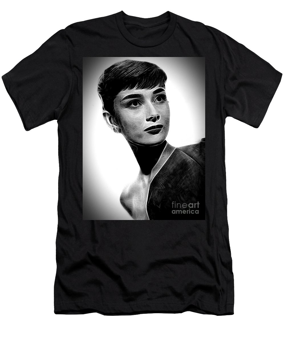 Audrey Hepburn Men's T-Shirt (Athletic Fit) featuring the photograph Audrey Hepburn - Black And White by Doc Braham