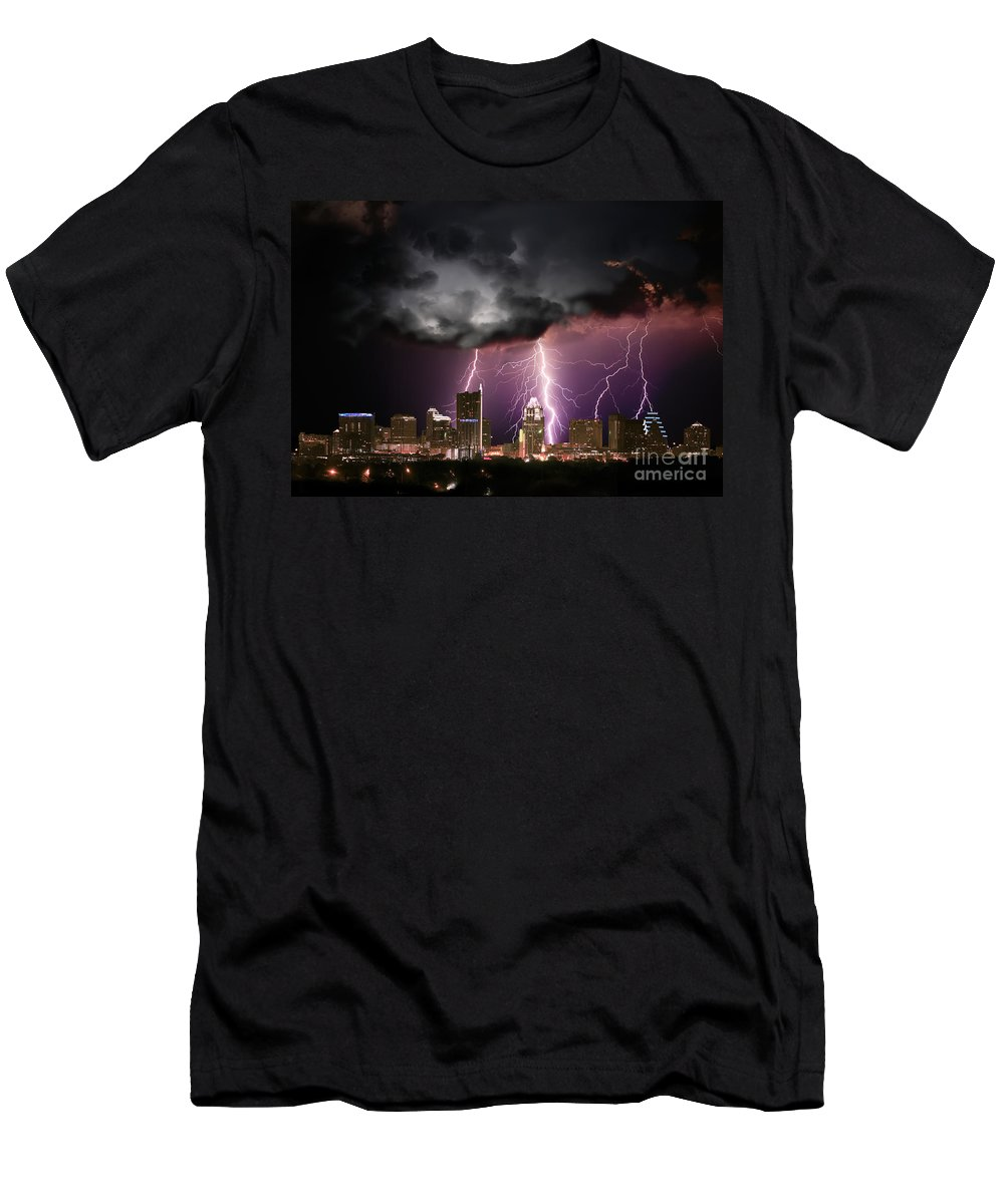 Lightning Men's T-Shirt (Athletic Fit) featuring the photograph Austin Light Show by Randy Smith