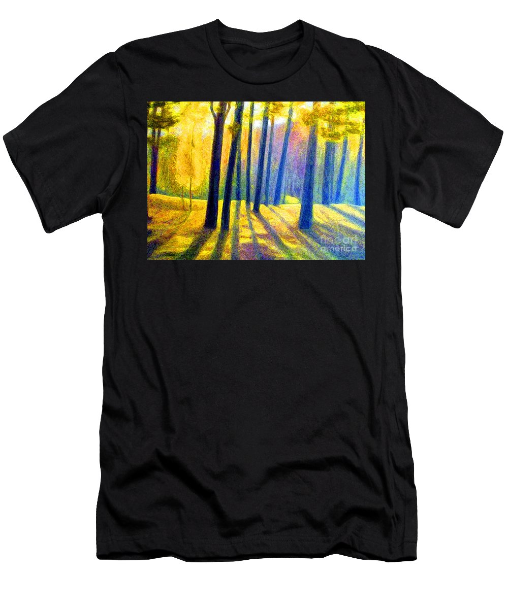 Landscape Men's T-Shirt (Athletic Fit) featuring the digital art Autumn by Algirdas Lukas
