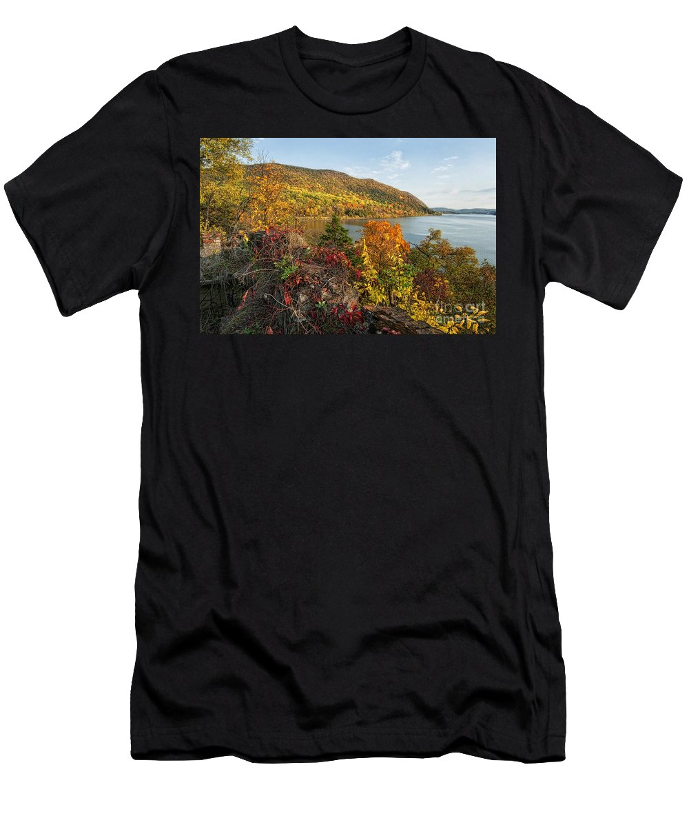 Fall Men's T-Shirt (Athletic Fit) featuring the photograph Autumn Along The Hudson by Claudia Kuhn