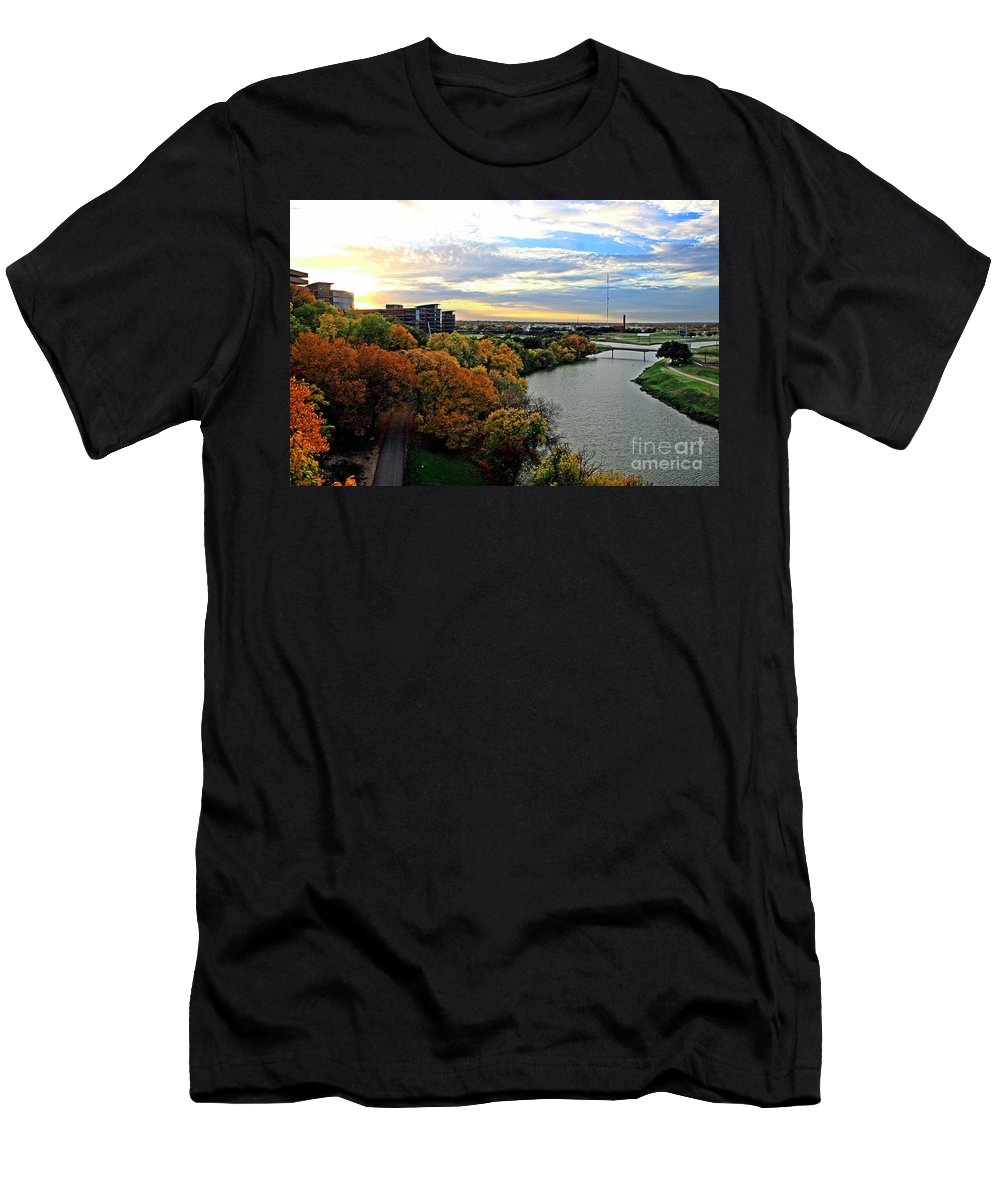 Autumn Scene Men's T-Shirt (Athletic Fit) featuring the photograph Autumn Along The Trinity by Earl Johnson