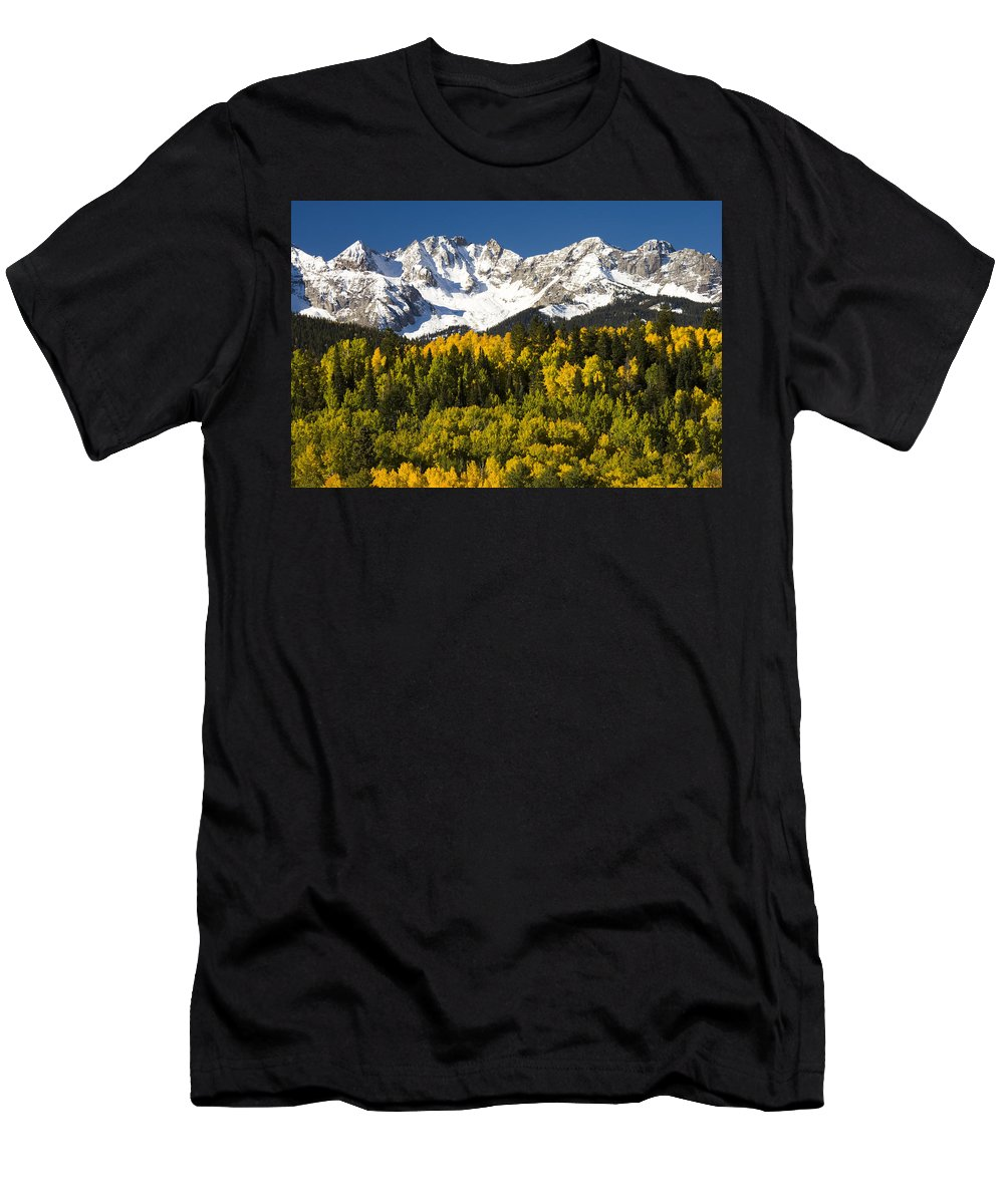 Feb0514 Men's T-Shirt (Athletic Fit) featuring the photograph Autumn And Snow Covered Peaks North by Tom Vezo