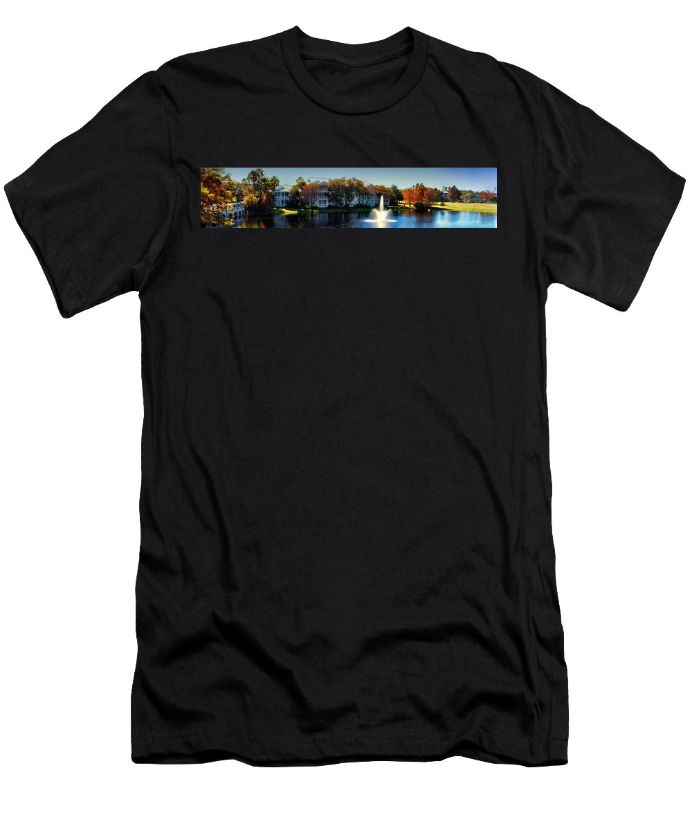 Ablaze Men's T-Shirt (Athletic Fit) featuring the photograph Autumn At Old Key West Resort Panorama Walt Disney World by Thomas Woolworth