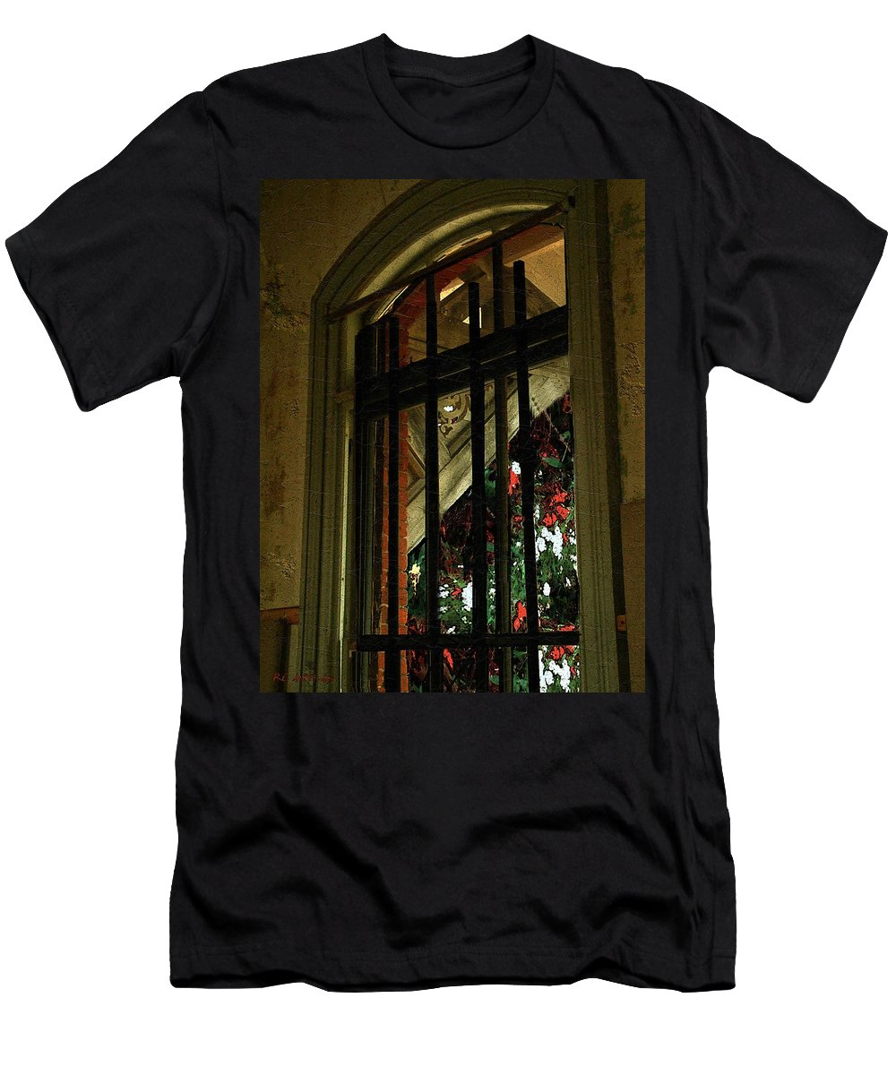 Window Men's T-Shirt (Athletic Fit) featuring the painting Autumn At The Old Sanitarium by RC DeWinter