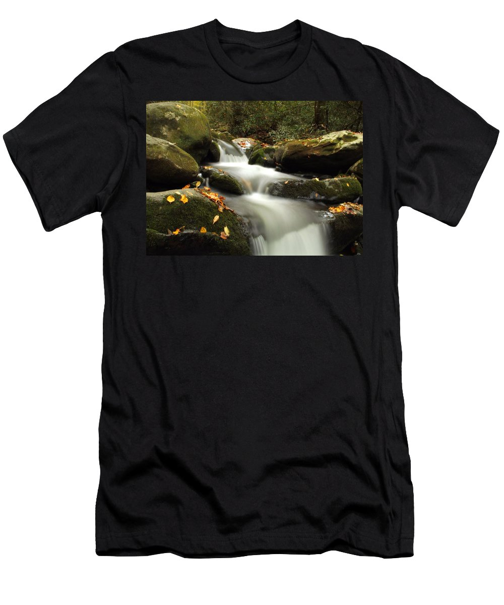 Autumn Cascades In Tennessee Men's T-Shirt (Athletic Fit) featuring the photograph Autumn Cascades In Tennessee by Dan Sproul