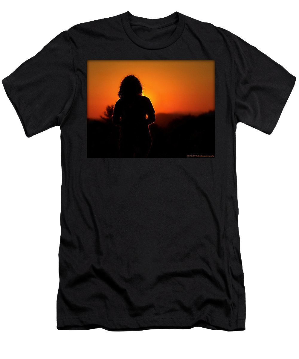 Sunset Silhouette Men's T-Shirt (Athletic Fit) featuring the photograph Autumn Clarity by Catherine Melvin