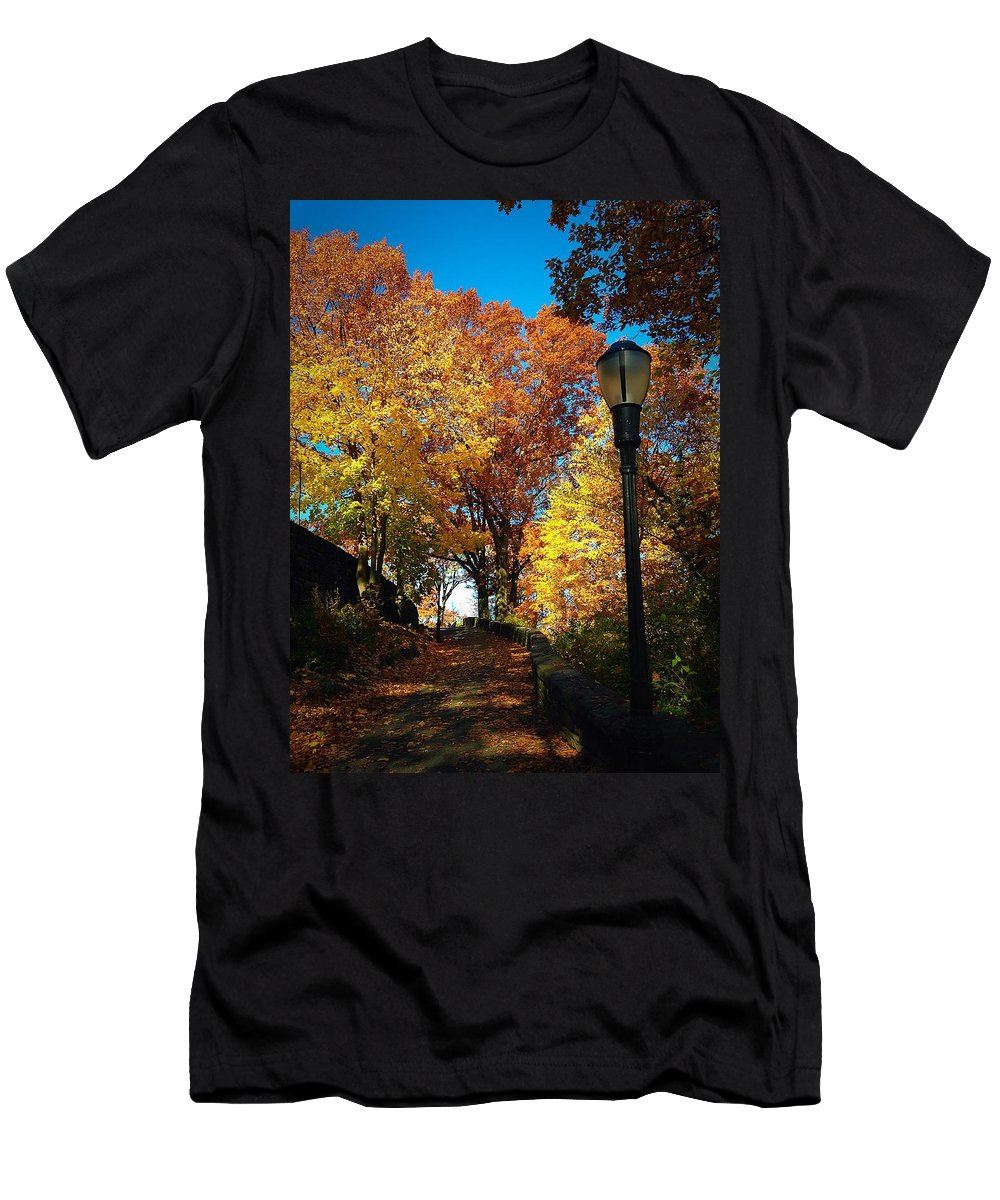 Red Men's T-Shirt (Athletic Fit) featuring the photograph Autumn Colors by Ydania Ogando