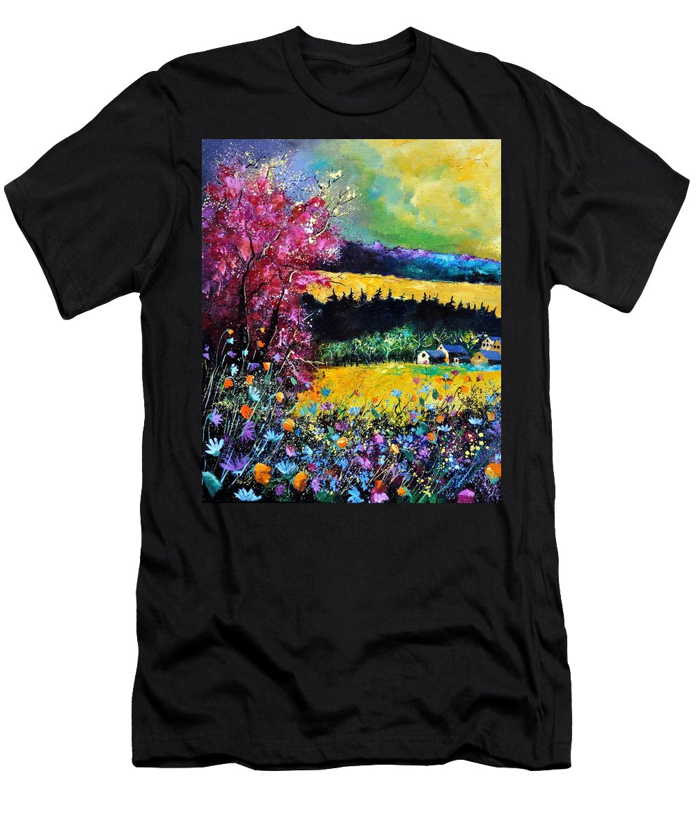 Landscape Men's T-Shirt (Athletic Fit) featuring the painting Autumn Flowers by Pol Ledent